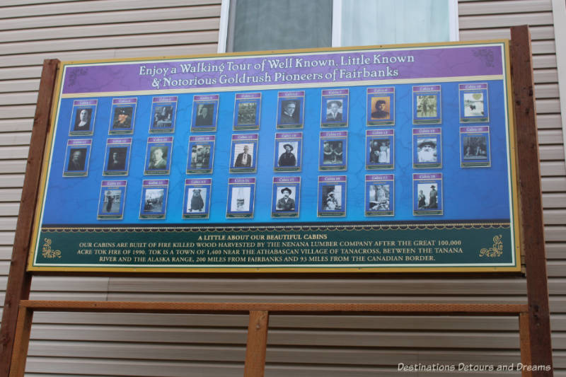 Guide to the stories of Fairbanks pioneers on the outside walls of Pike's Waterfront Lodge cabins