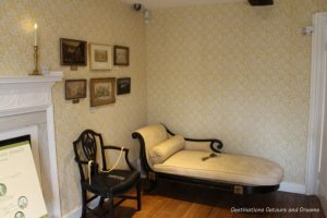 Chaise lounge in the Drawing Room at Jane Austen's House Museum in Chawton, Hampshire