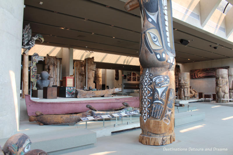 Great Hall exhibits at Museum of Anthropology in Vancouver, British Columbia