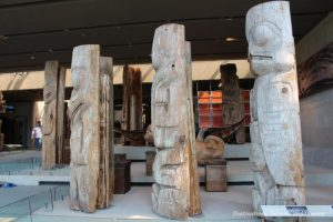 Weathered totem poles at Museum of Anthropology