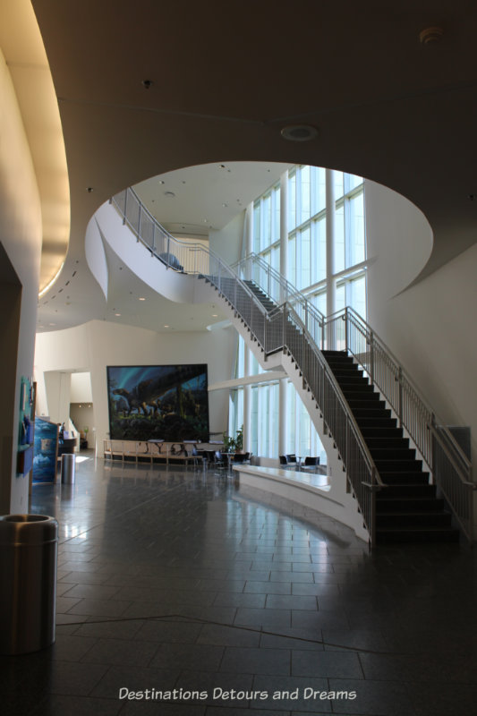 White curved walls and spiral staircase in Museum of the North lobby