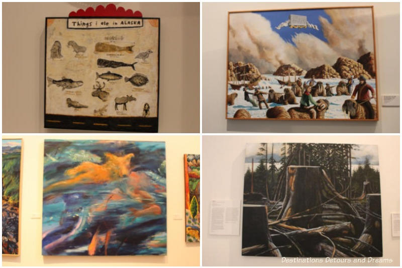 Collection of paintings at the Rose Berry Art Gallery in Fairbanks, Alaska