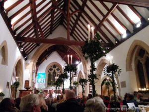 Church carol service in Churt, Surrey, England