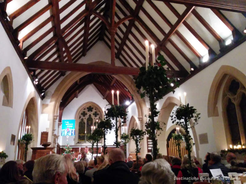Church carol service in Churt, Surrey, England
