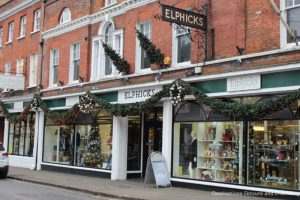 Christmas Decorations on Elphicks store in Farnham, England