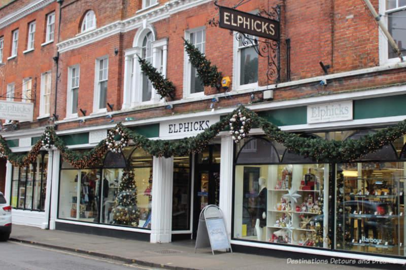 Christmas Decorations on Elphicks store in Farnham, England