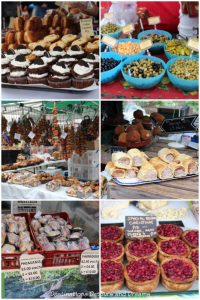 A small sampling of food items at Haslemere Christmas Market, Surrey, England