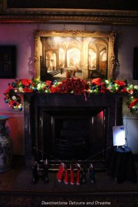 Decorated fireplace and mantel at Petworth House, England