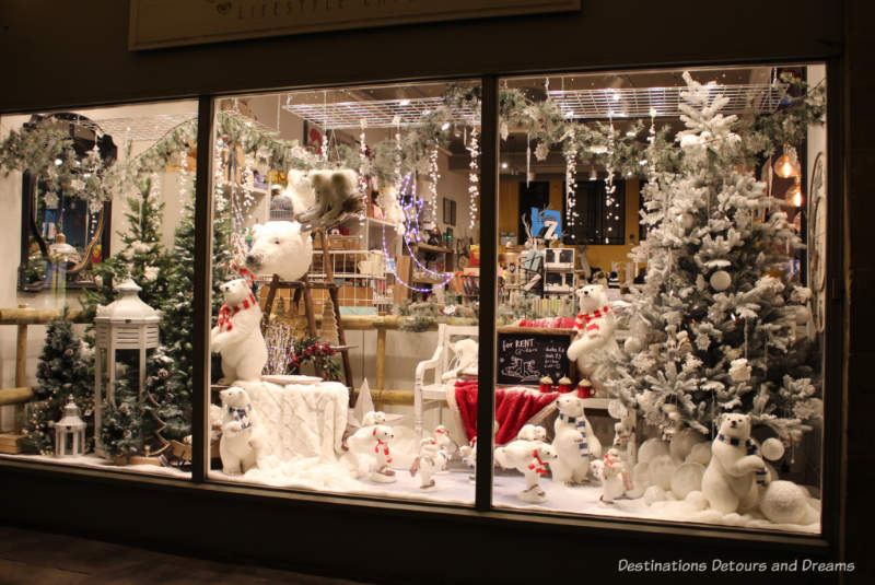 A Christmas store window display in Farnham, England