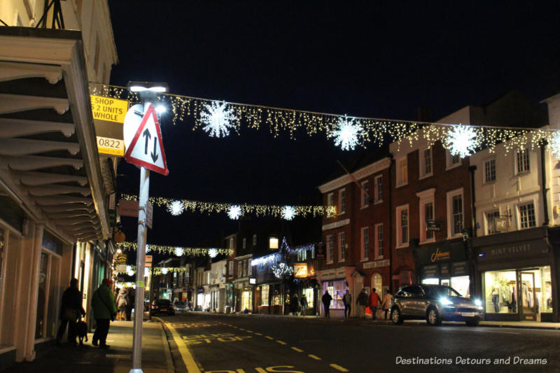 The streets of Farnham, England decorated for Christmas