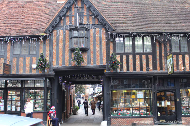 Decorated store front during a Christmas in England