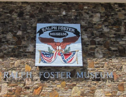 Sign on front of the Ralph Foster Museum in Branson, Missouri