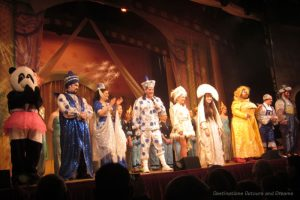 Cast on stage at end of pantomime Aladdin