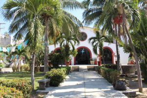 The peaceful grounds of Our Lady of Peace Church in Bucerías, Mexico