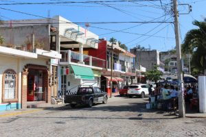 Street leading from main highway to beach in Bucerías, Mexico