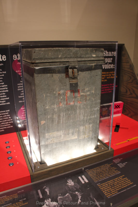 Ballot box on display at Manitoba Museum exhibit: Nice Women Don't Want The Vote