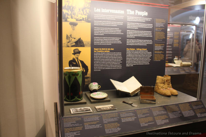 "Display case at Manitoba Museum exhibit ""Nice Women Don't Want The Vote"""