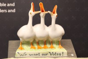 Goose suffragette figurine at Manitoba Museum exhibit