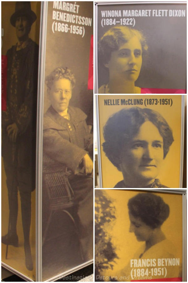 "Suffragette information at Manitoba Museum exhibit ""Nice Women Don't Want The Vote"""