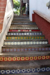 Colourful tiles stairs in Puerto Vallarta, Mexico
