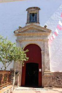 Entrance to Iglesia de San Sebastián in San Sebastián del Oeste, Mexico