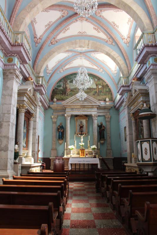 Interior of Iglesia San Sebastián in San Sebastián del Oeste, Mexico