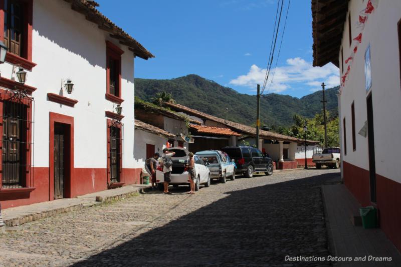 Cobblestoned street of San Sebastián del Oeste, Mexico