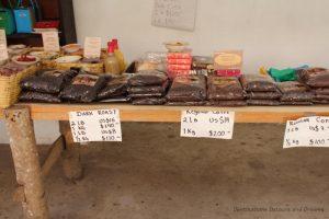 Coffee and other products for sale at La Quinta Mari, San Sebastián del Oeste, Mexico