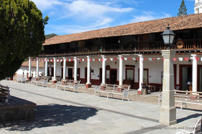 front of Morelos Portal in San Sebastián del Oeste, Mexico