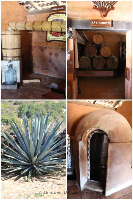 Agave cacti and tequill processing equipment at San Sebastián Tequila, just outside San Sebastián del Oeste, Mexico