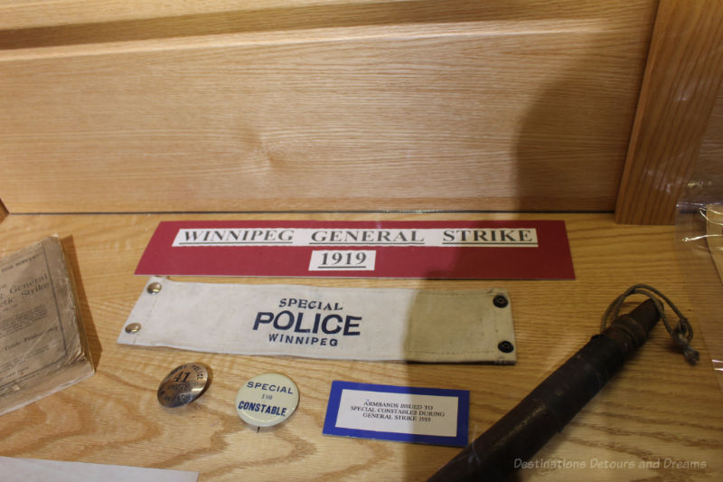 Special Police memorabilia from the 1919 Winnipeg General Strike at the Winnipeg Police Museum