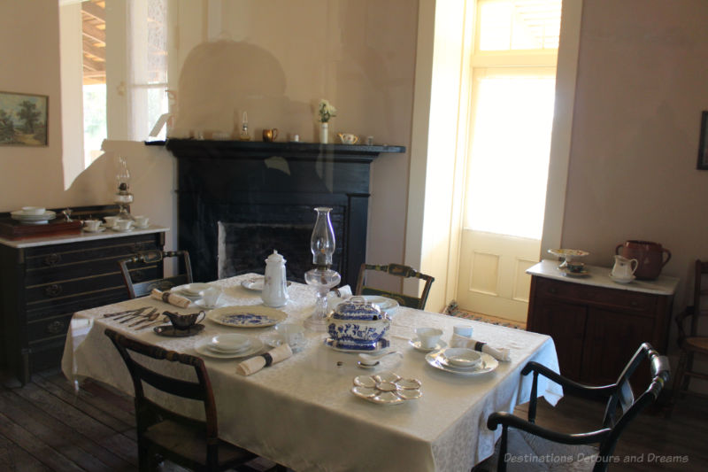 Dining room in Commanding Officer Quarters at Yuma Quartermaster Depot