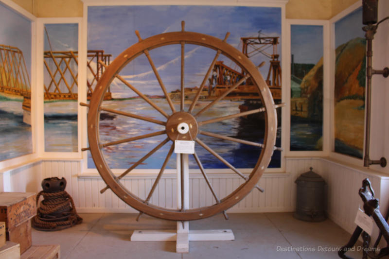 Steamboat steering wheel on display at Colorado River State Historic Park in Yuma, Arizona