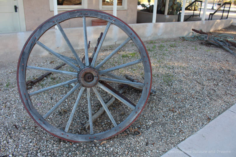 Old wheel at Colorado River State Historic Park in Yuma, Arizona
