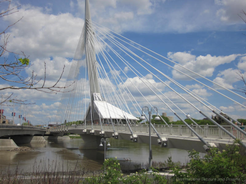 Pedestrian bridge Riel Esplanade in Winnipeg, Manitoba