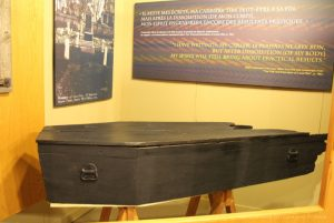 Louis Riel's original coffin at St. Boniface Museum, Winnipeg, Manitoba