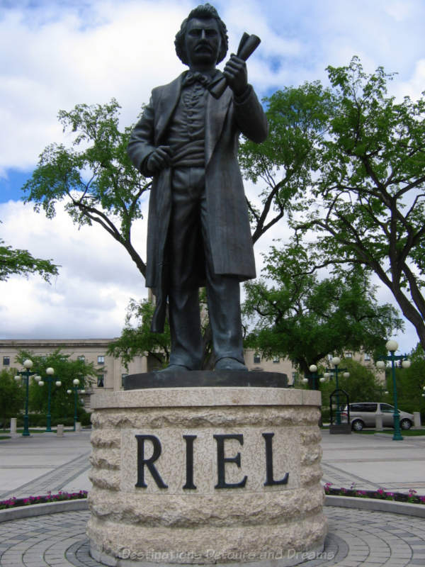 Louis Riel statue on the ground of the Manitoba Legislative Building, Winnipeg, Canada