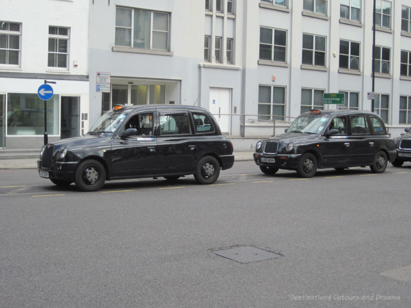 Black taxi cabs in London