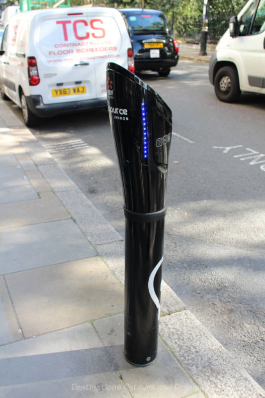 Electric car charging station in London