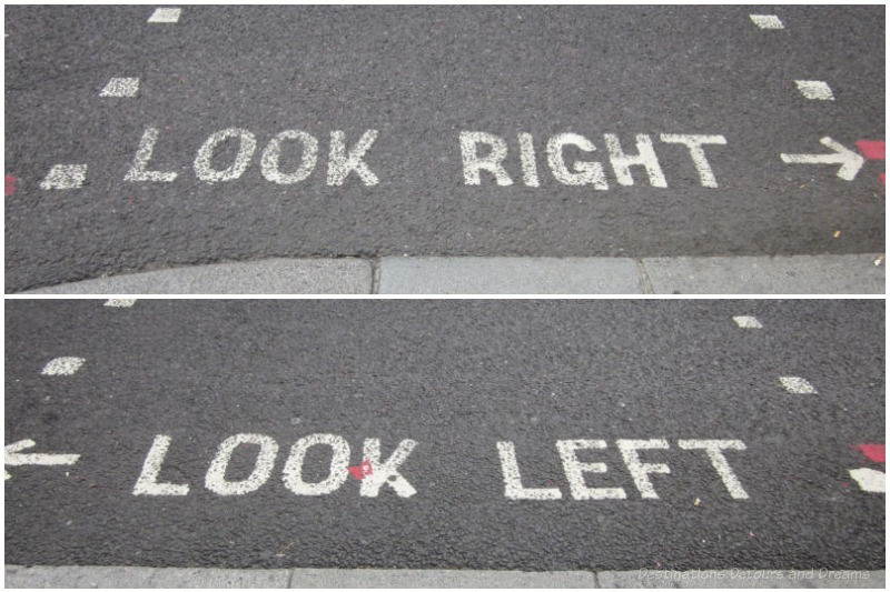 Look left and look right signs on curb in London street
