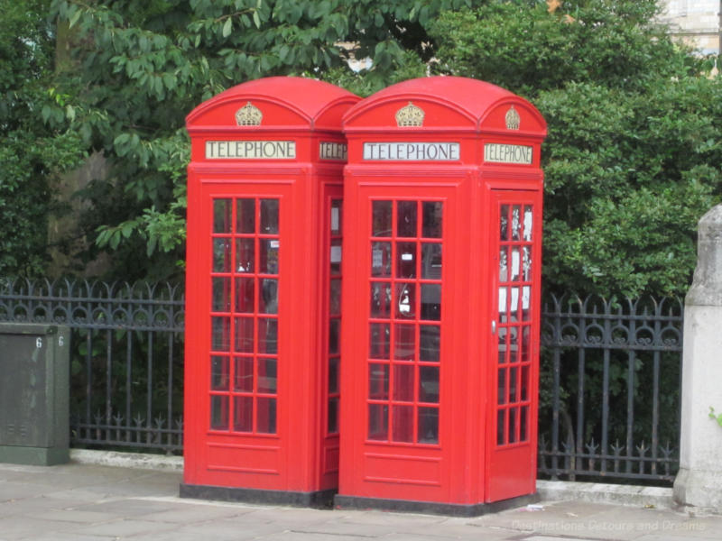Classic red phone booths in London