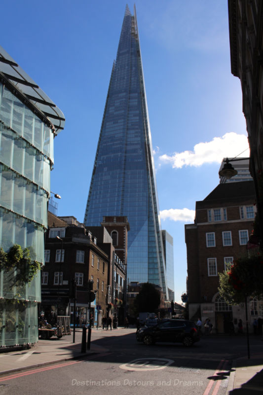 The Shard, a 95-story glass pyramid-shaped skyscraper in London, England