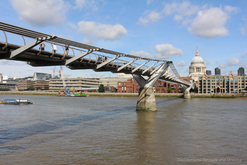 Images of London - pedestrian Millennium Bridge with dome of St. Paul's Cathedral in the background