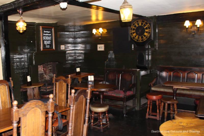 Inside an historic pub in London
