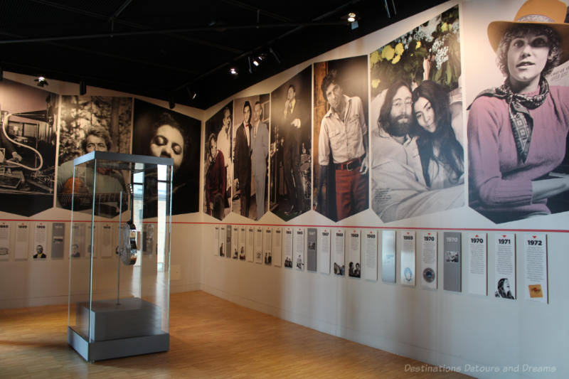 Photos and information on walls of the National Music Centre Made in Canada gallery about people that have shaped music in Canada