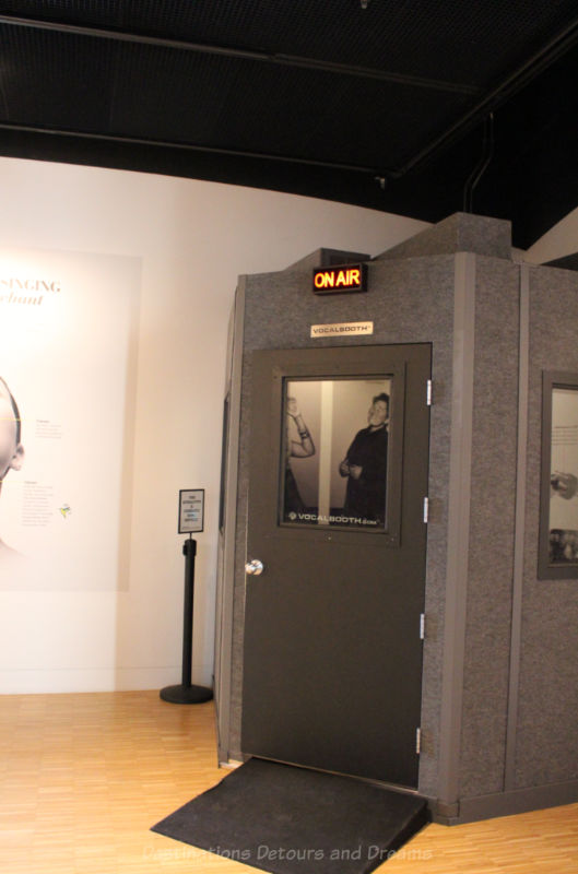 "Vocal ""on air"" booth in the Voice gallery of the National Music Centre"
