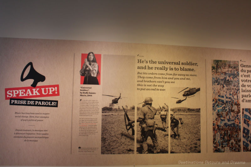 "Wall of information about the ""universal soldier"" in the Speak Up gallery at the National Music Centre"