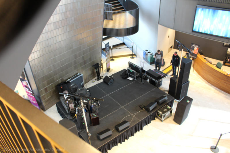 Stage in entrance level of National Music Centre viewed from floor above