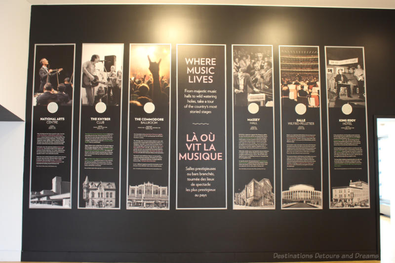 National Music Centre display about iconic Canadian music venues.