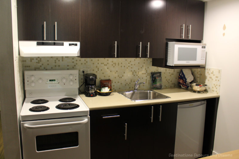 Kitchen facilities at Gage apartments at University of British Columbia, an affordable option to hotels in Vancouver